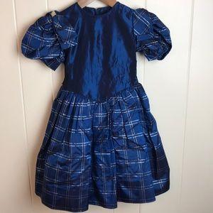 Vintage 80s/90s Blue Gold Girls Party Dress